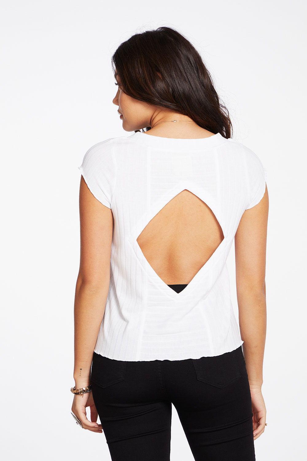 Poor Boy Rib Short Sleeve Cropped Deep V Vent Back Tee