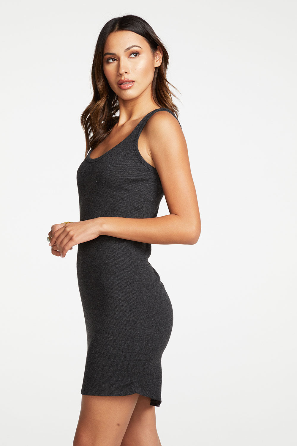 Triblend Rib Double Scoop Mini Tank Dress