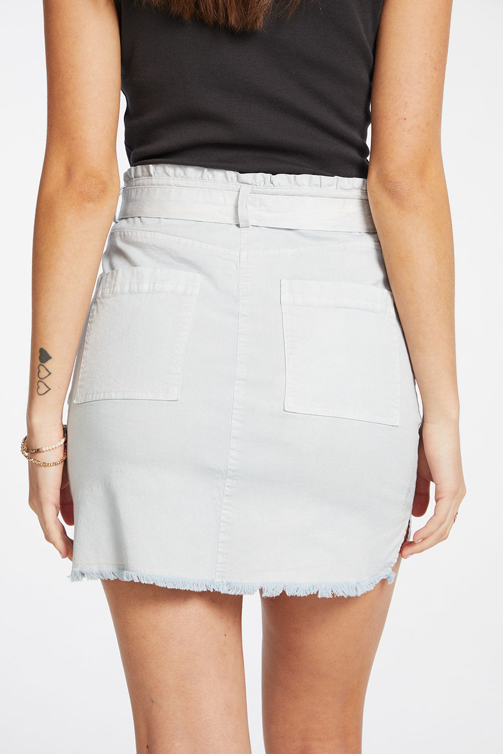 Stretch Twill Distressed Paperbag Waist Hi Lo Mini Skirt with Belt