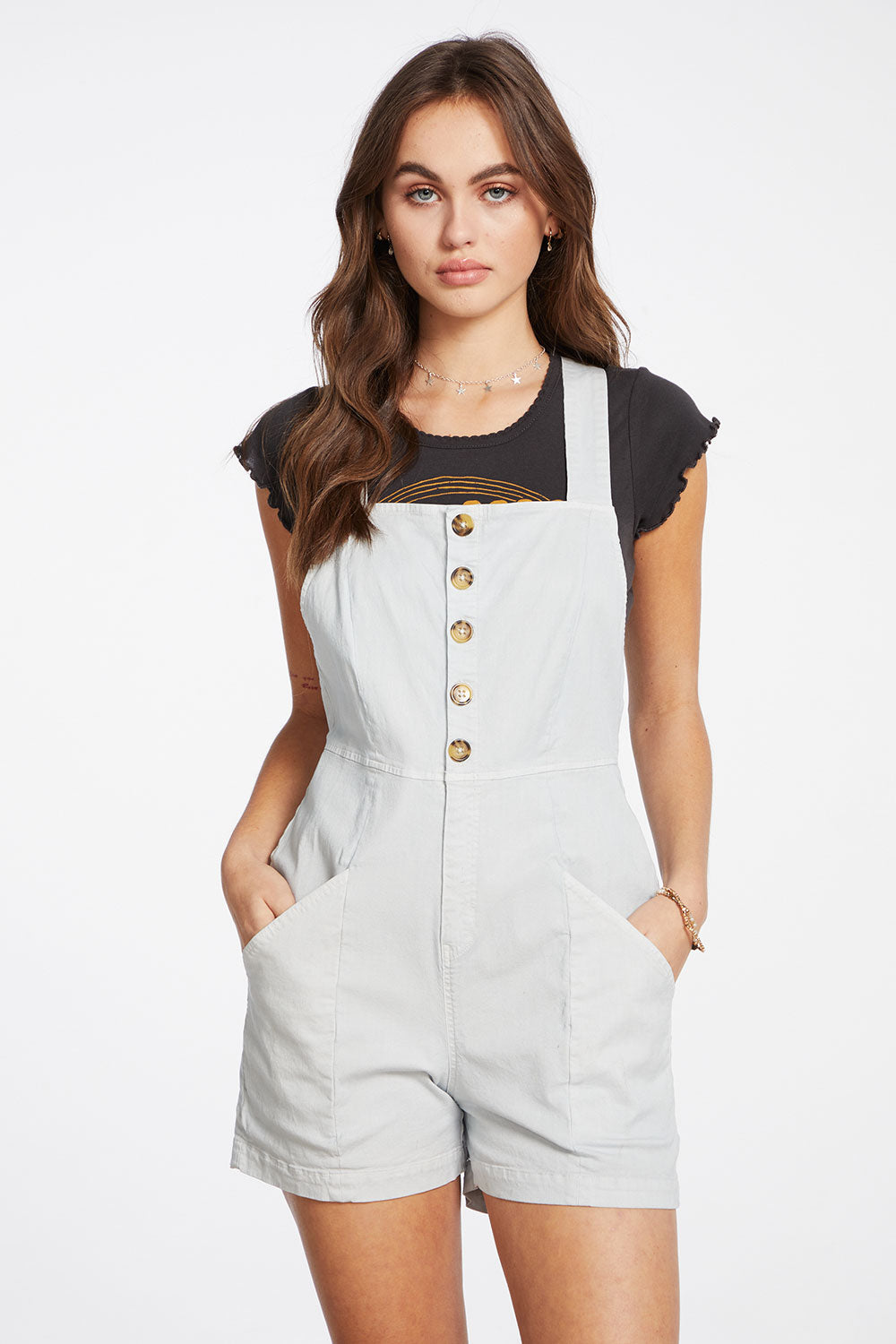 Stretch Twill Cross Back Button Front Romper