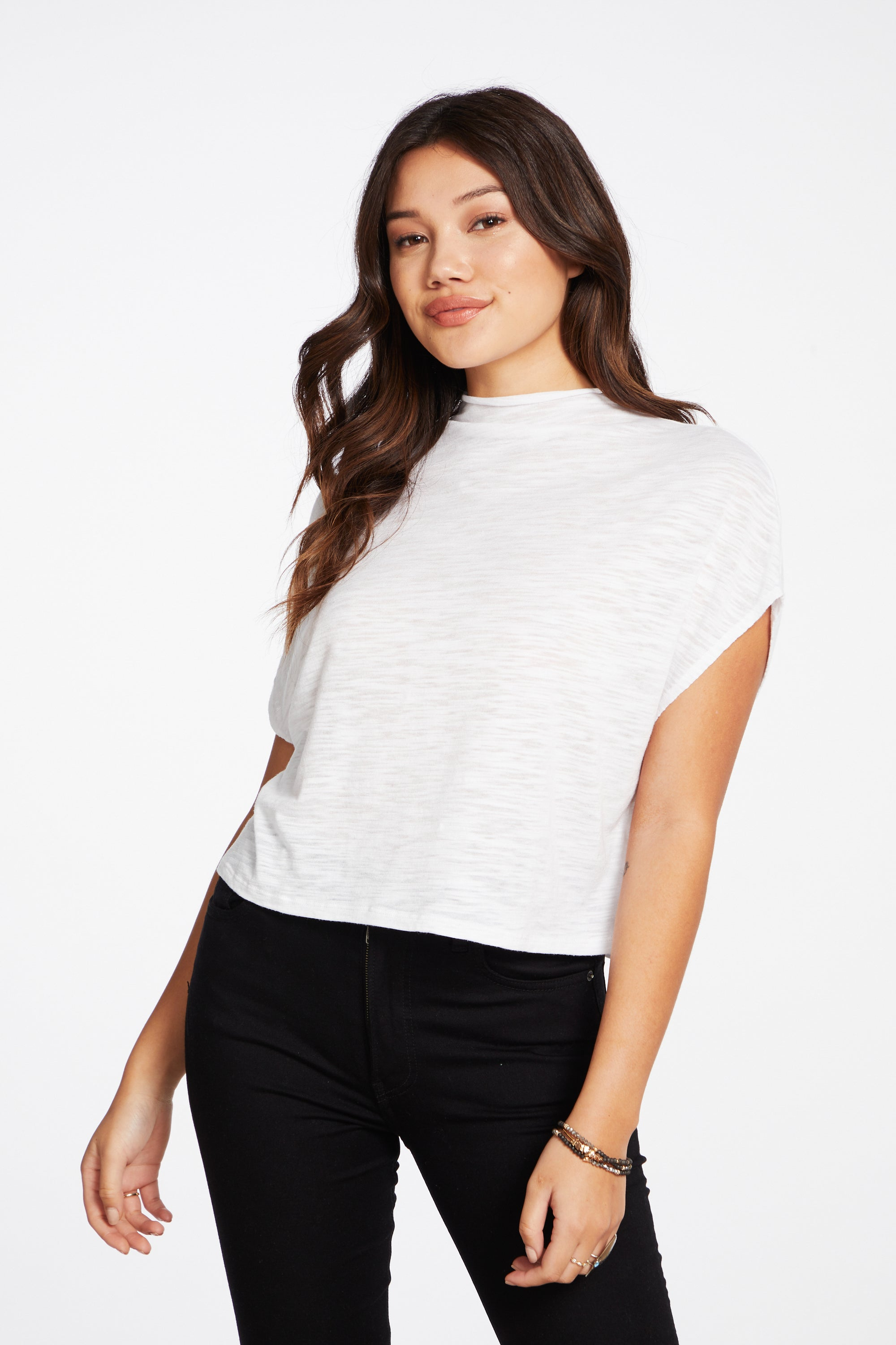 Slub Jersey Mock Neck Sleeveless Dolman Tee