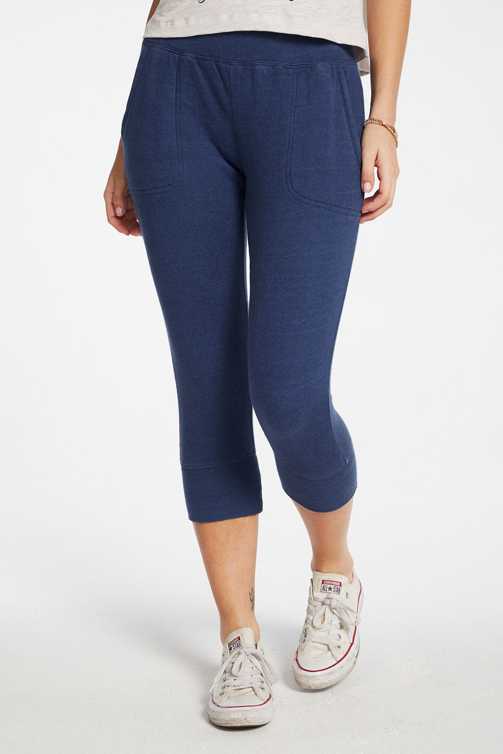 Linen French Terry Cropped Extended Cuff Lounge Pant