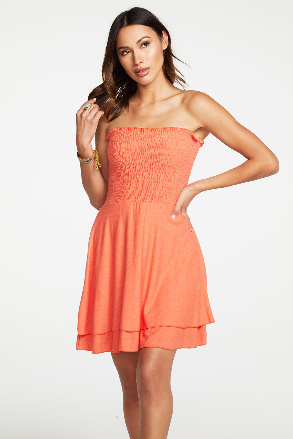Cozy Knit Strapless Smocked Mini Dress