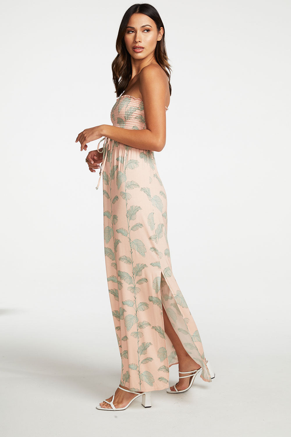 Cool Jersey Smocked Strapless Maxi Dress with Side Slits