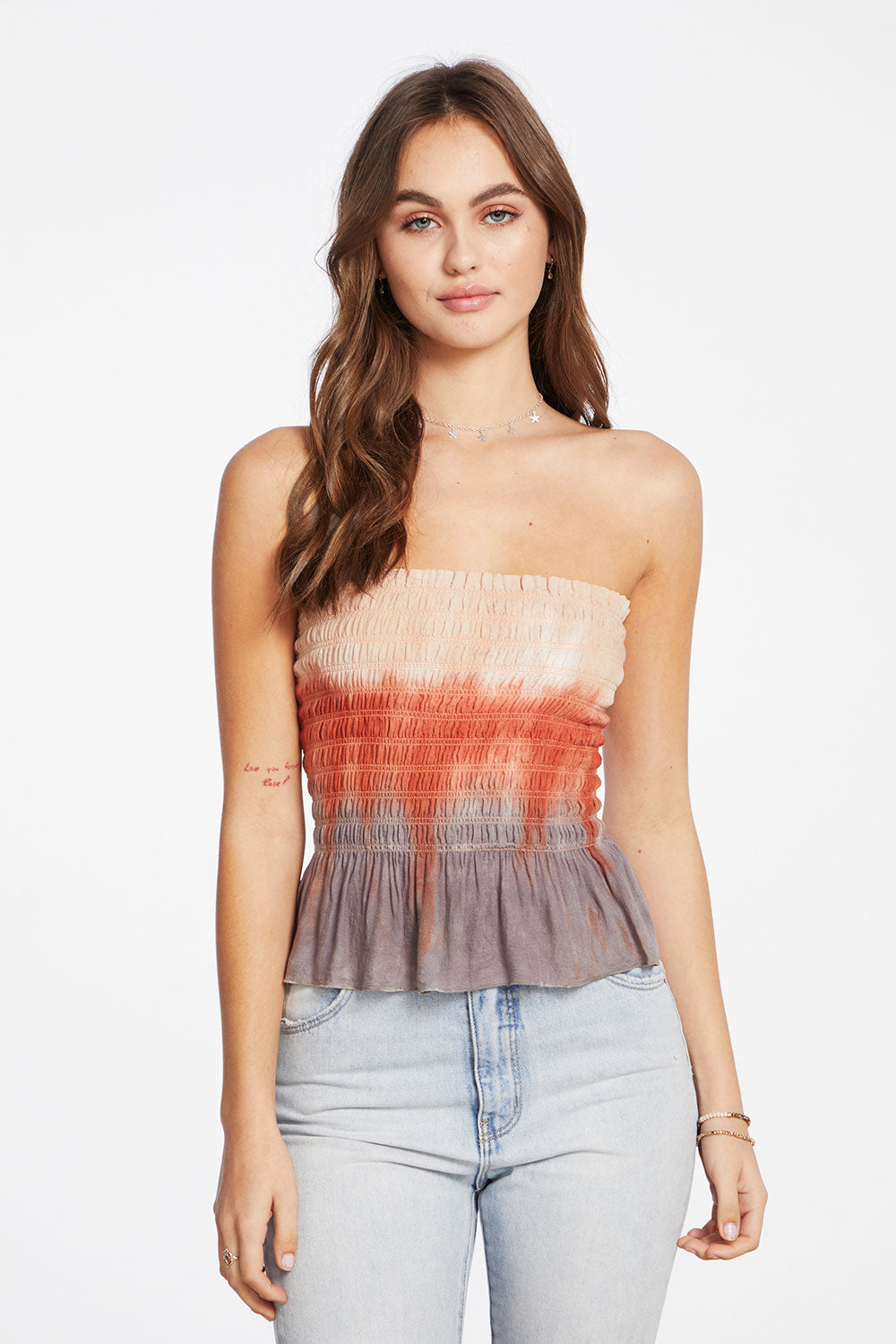Heirloom Gauze Smocked Ruffle Tube Top