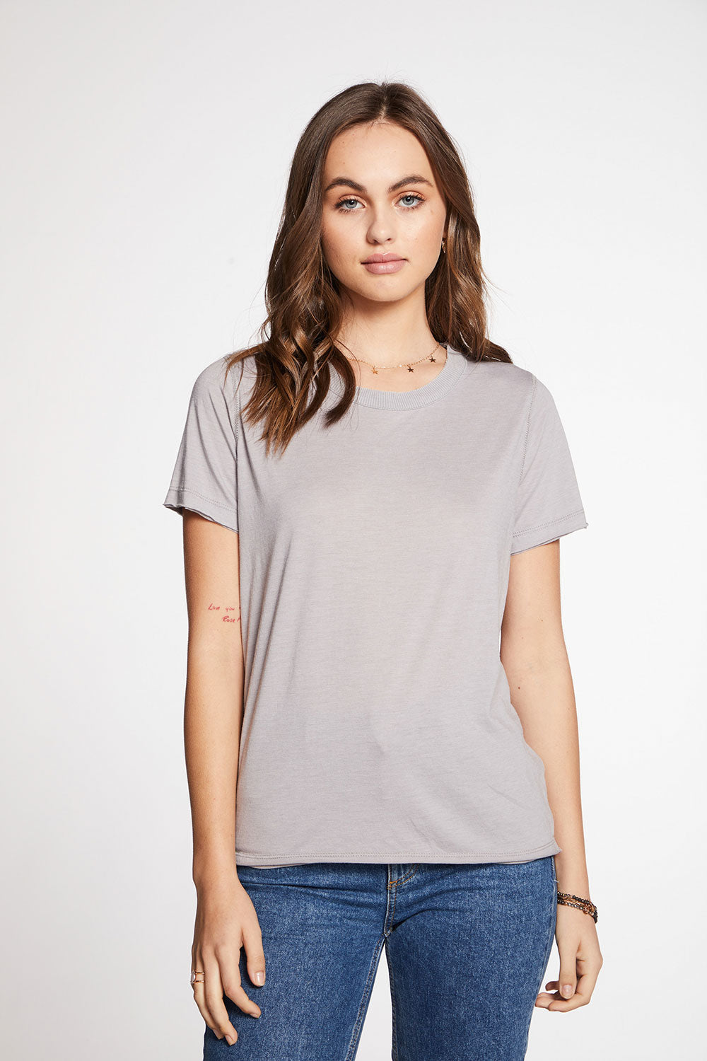 Recycled Vintage Jersey Raw Edge Short Sleeve Crew Neck Tee