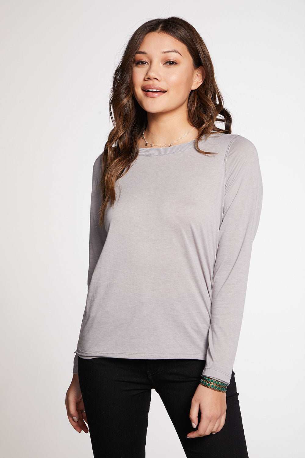 Recycled Vintage Jersey Raw Edge Long Sleeve Crew Neck Tee