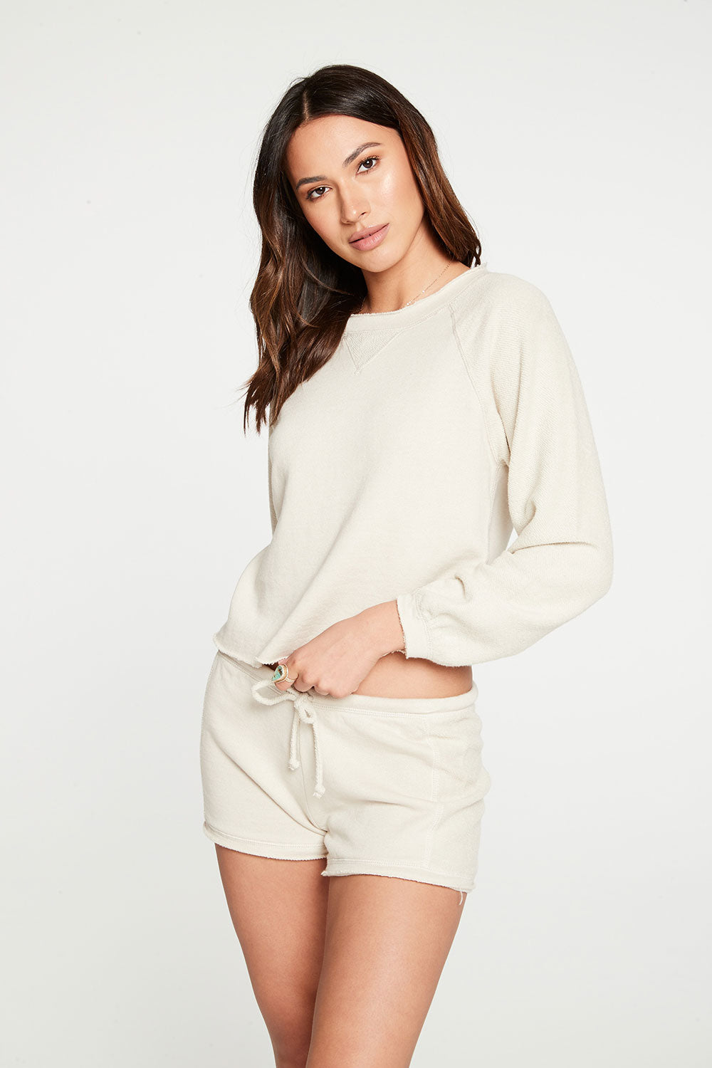 Linen French Terry Blouson Sleeve Raw Edge Pullover
