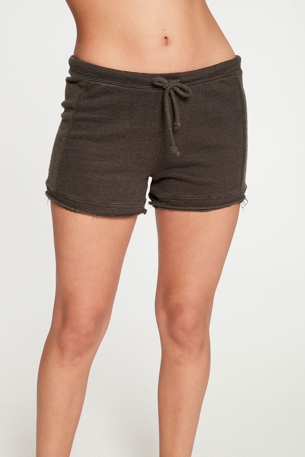 Linen French Terry Seamed Raw Edge Shorts