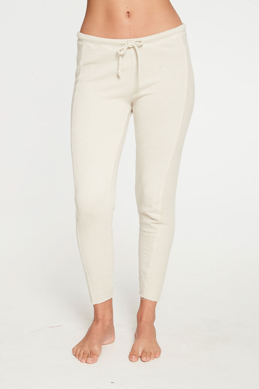 Linen French Terry Seamed Raw Edge Lounge Pant