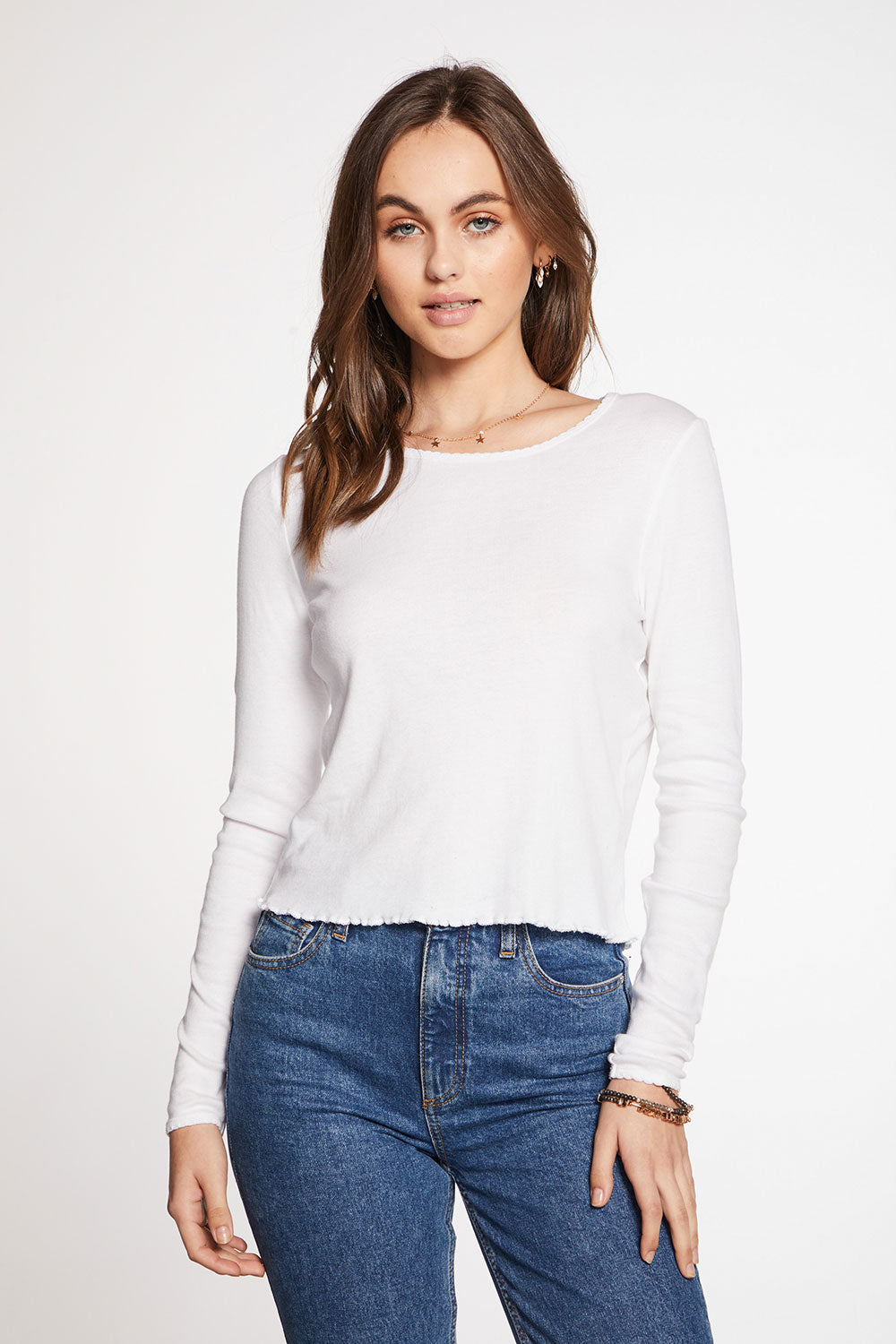 Baby Rib Scallop Edge Long Sleeve Crew Neck Tee