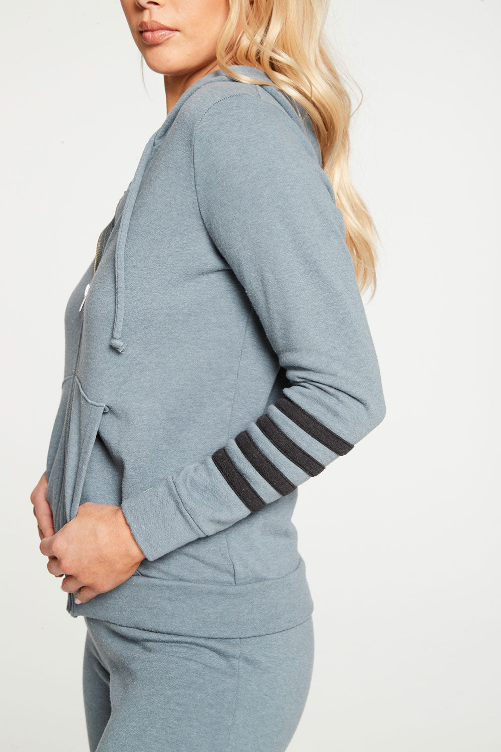 Cashmere Fleece Long Sleeve Zip Up Hoodie with Strappings