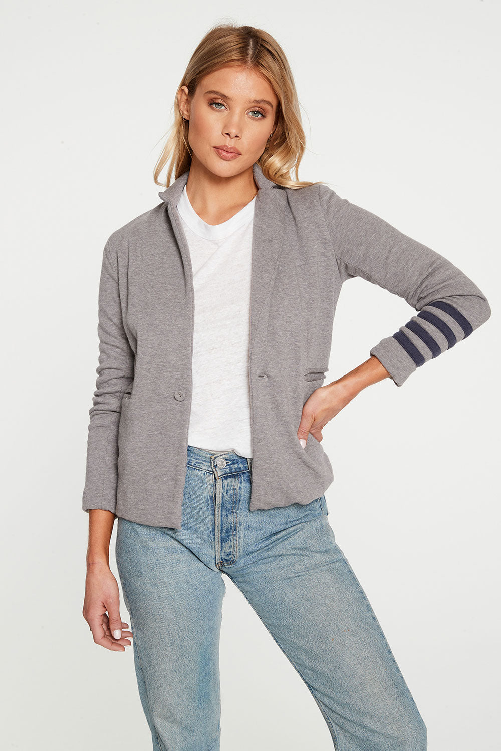 Cashmere Fleece Long Sleeve Blazer with Strappings WOMENS - chaserbrand