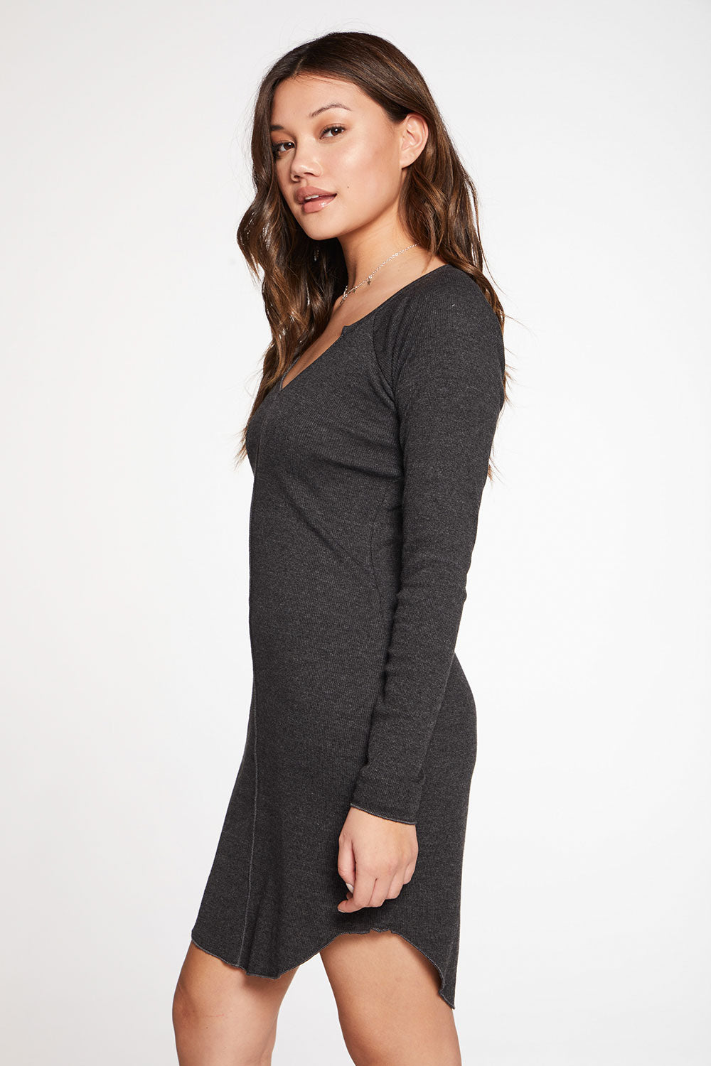 Triblend Rib Long Sleeve Split Neck Raglan Shirttail Mini Dress WOMENS chaserbrand4.myshopify.com