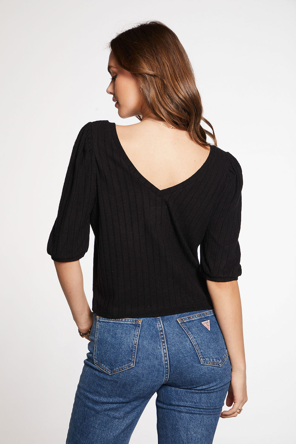 Poor Boy Rib Cropped 3/4 Puff Sleeve V Neck Top WOMENS chaserbrand4.myshopify.com