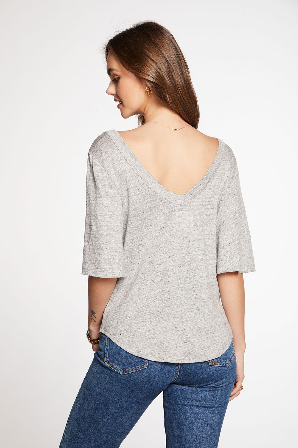 Linen Jersey Double V Angel Sleeve Shirttail Tee