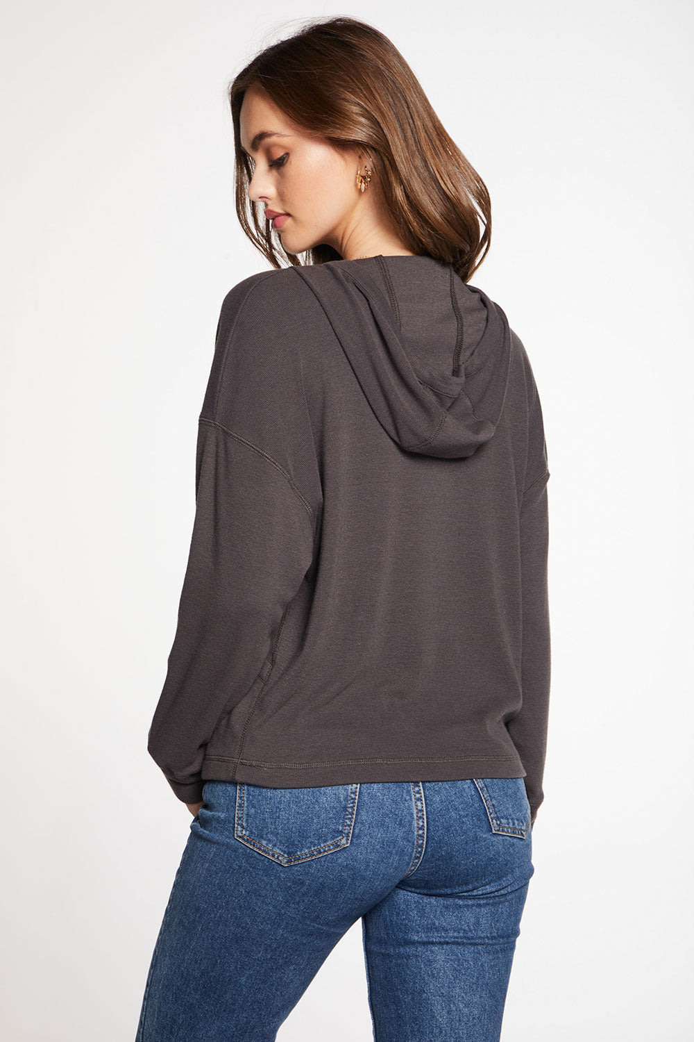 Linen Rib Long Sleeve Drop Shoulder Surplice Pullover Hoodie