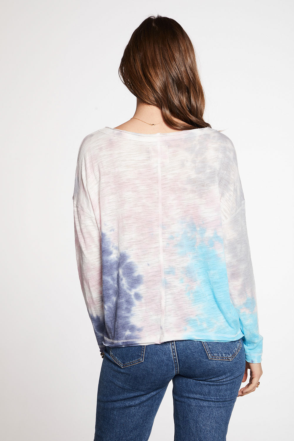 Slub Jersey Raw Edge Long Sleeve Open Neck Drop Shoulder Tee WOMENS chaserbrand4.myshopify.com
