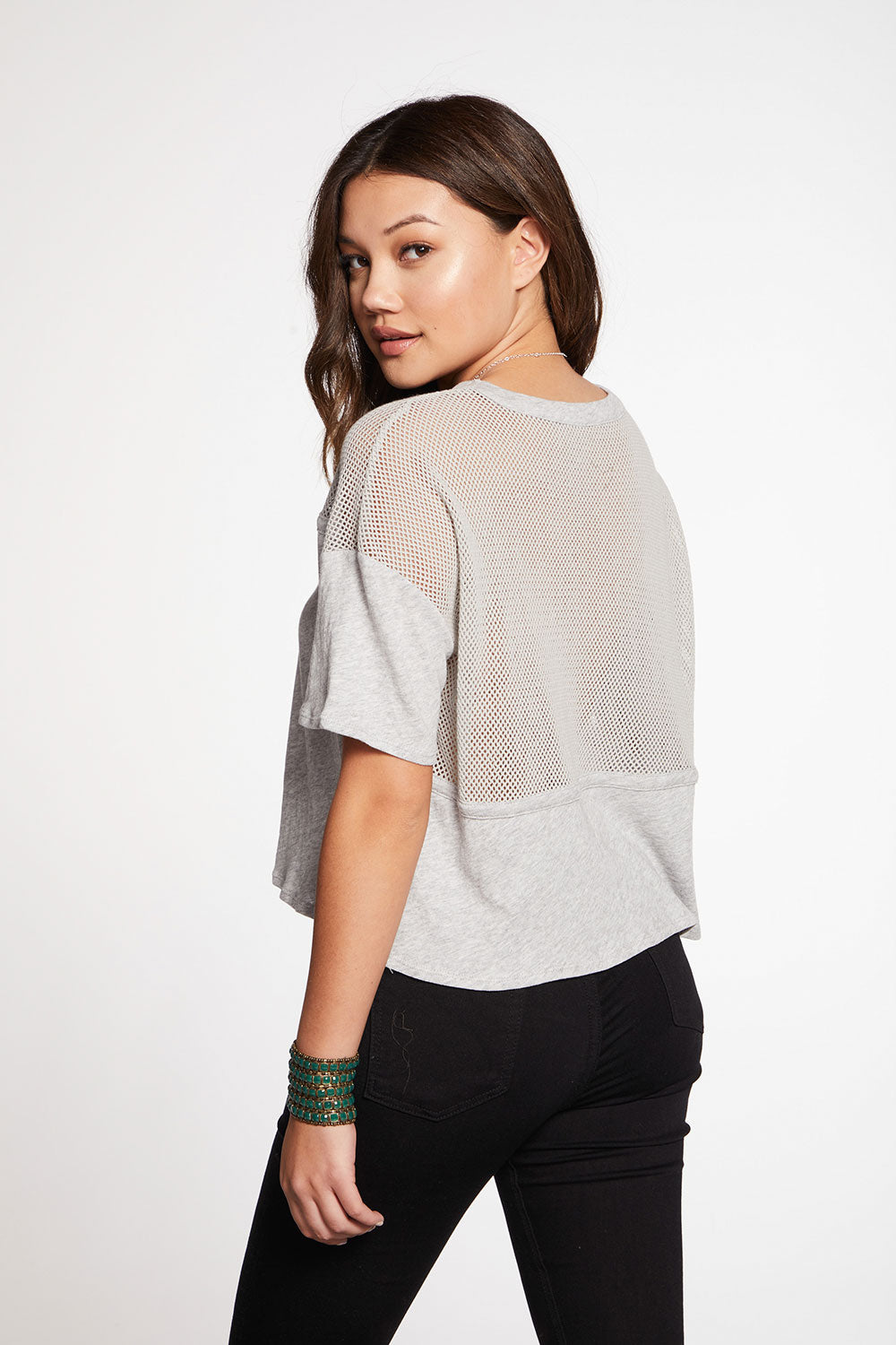Gauzy Cotton Blocked Mesh Boxy Short Sleeve Tee