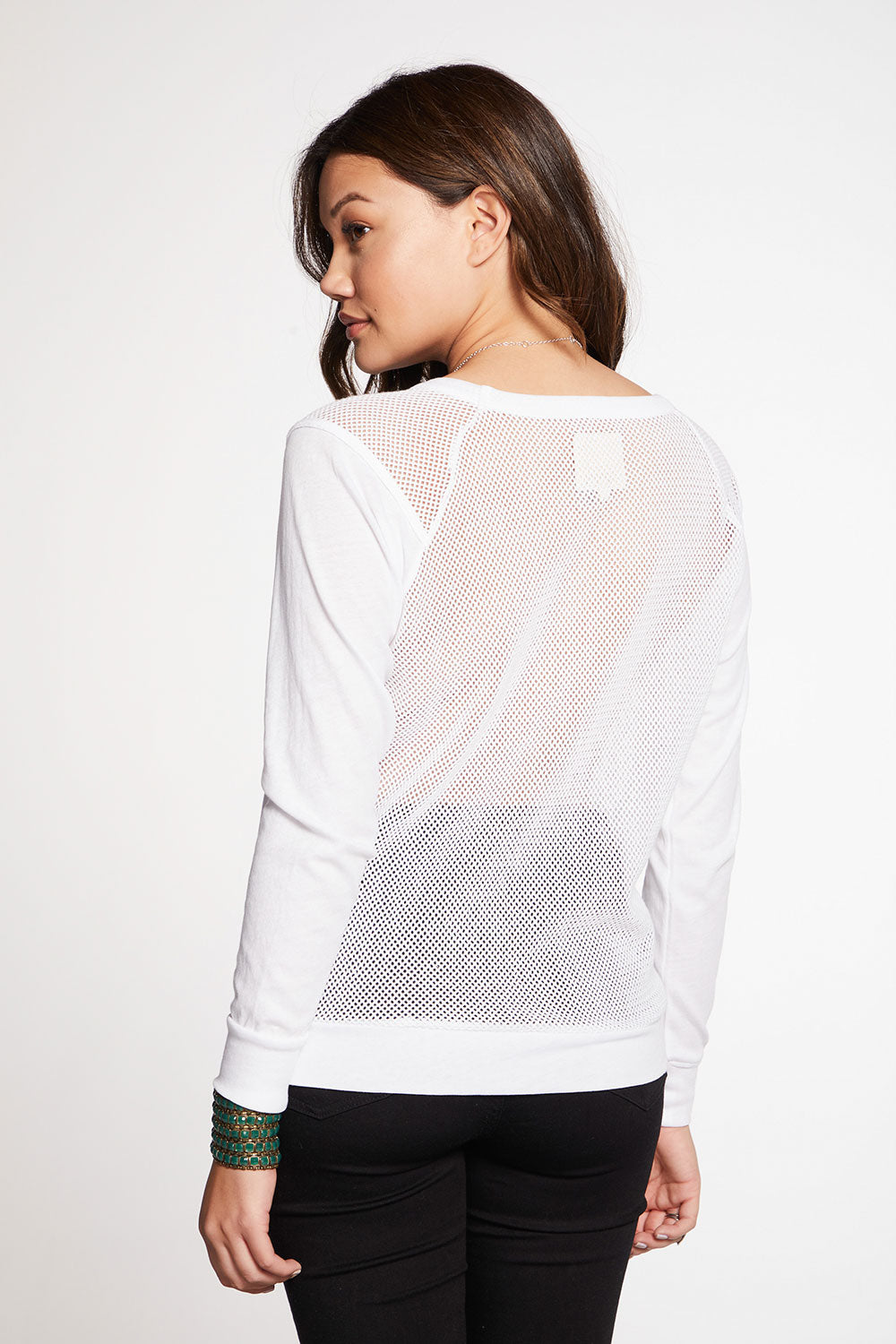 Gauzy Cotton Blocked Mesh Long Sleeve Raglan Pullover