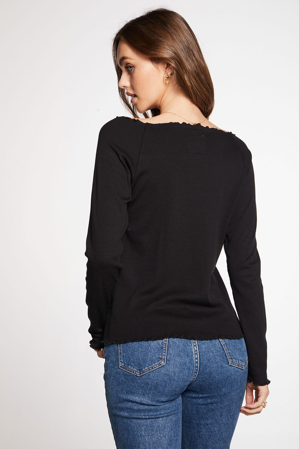 Vintage Rib Lettuced Open Neck Long Sleeve Ballet Tee