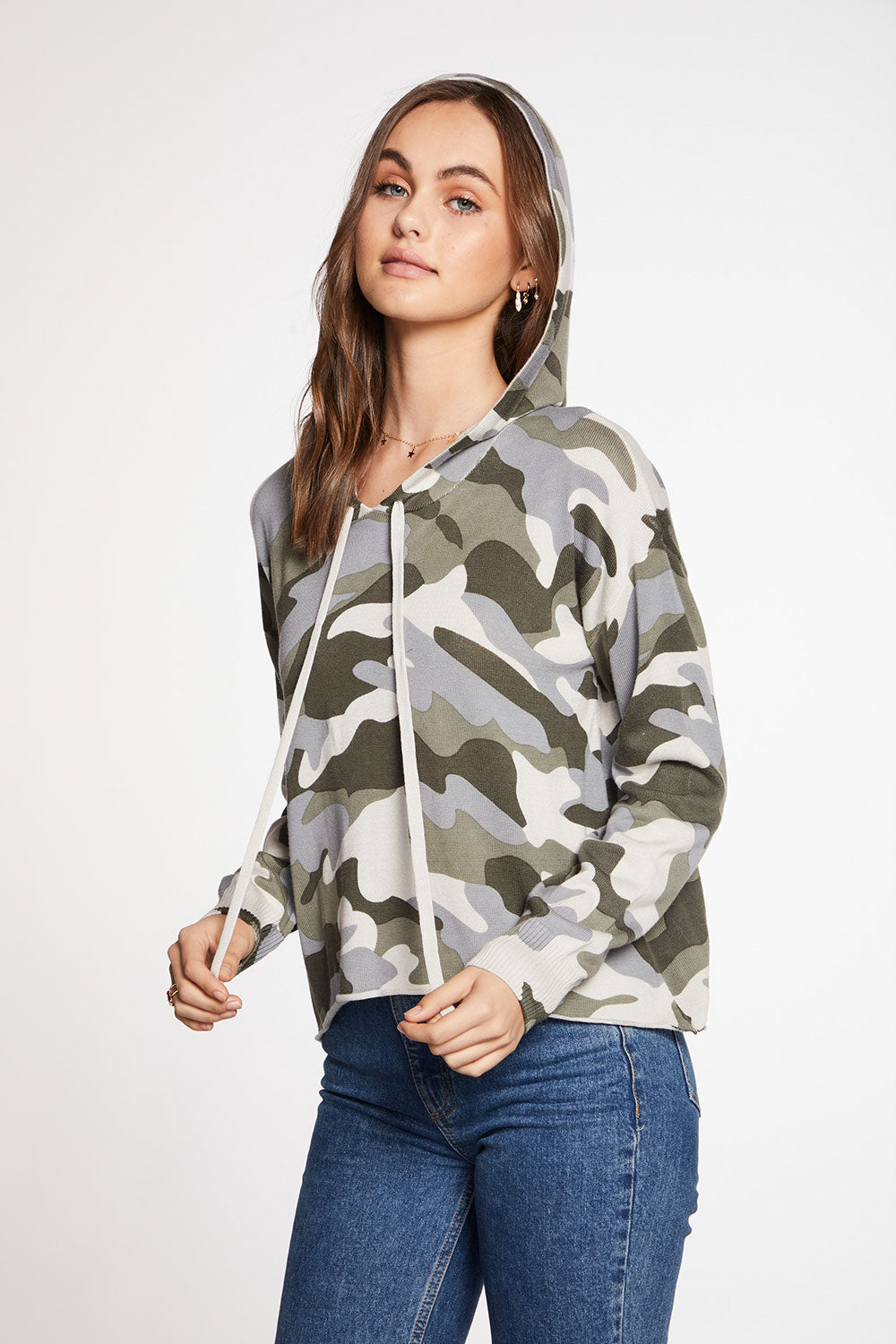 Lightweight Cotton Blend Camo Long Sleve Hi Lo Pullover Hoodie
