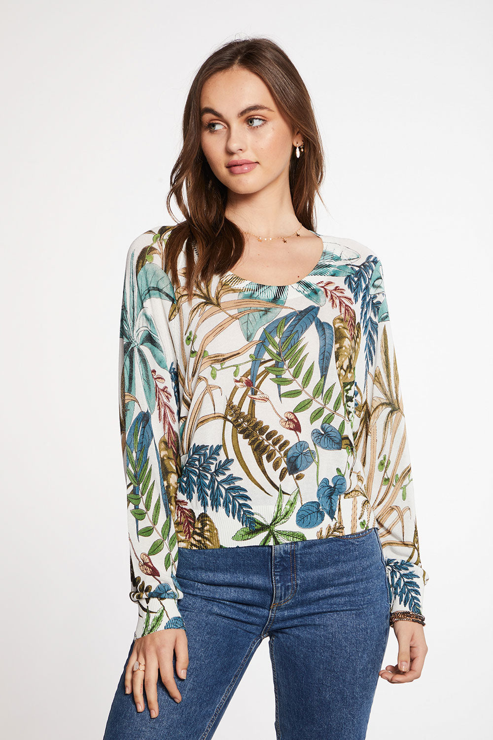 Viscose Blend Botanical Print Oversized Long Sleeve Raglan Pullover Sweater