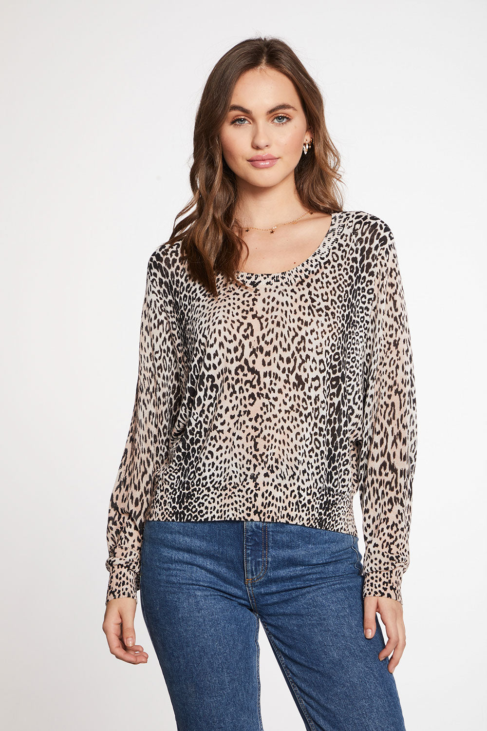 Viscose Blend Micro Animal Print Oversized Long Sleeve Raglan Pullover Sweater WOMENS - chaserbrand