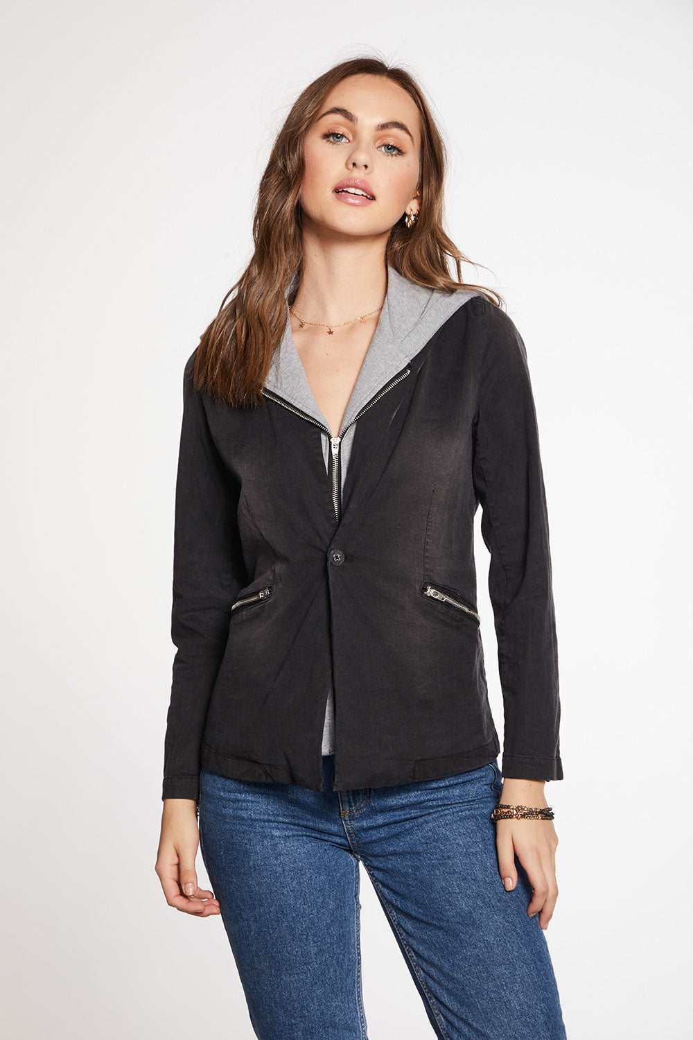 Stretch Twill Contrast Hooded Blazer WOMENS - chaserbrand