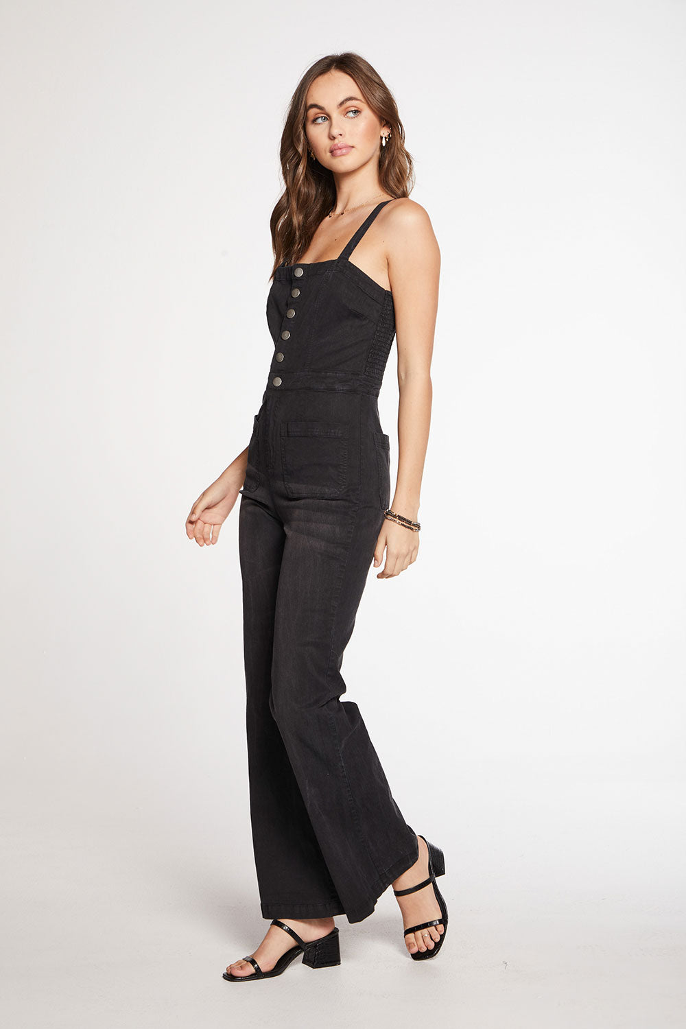 Stretch Twill Square Neck Button Down Wide Leg Jumpsuit WOMENS chaserbrand4.myshopify.com