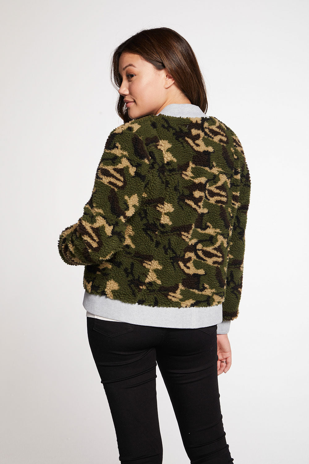 Camo Faux Fur Long Sleeve Bomber Jacket WOMENS - chaserbrand