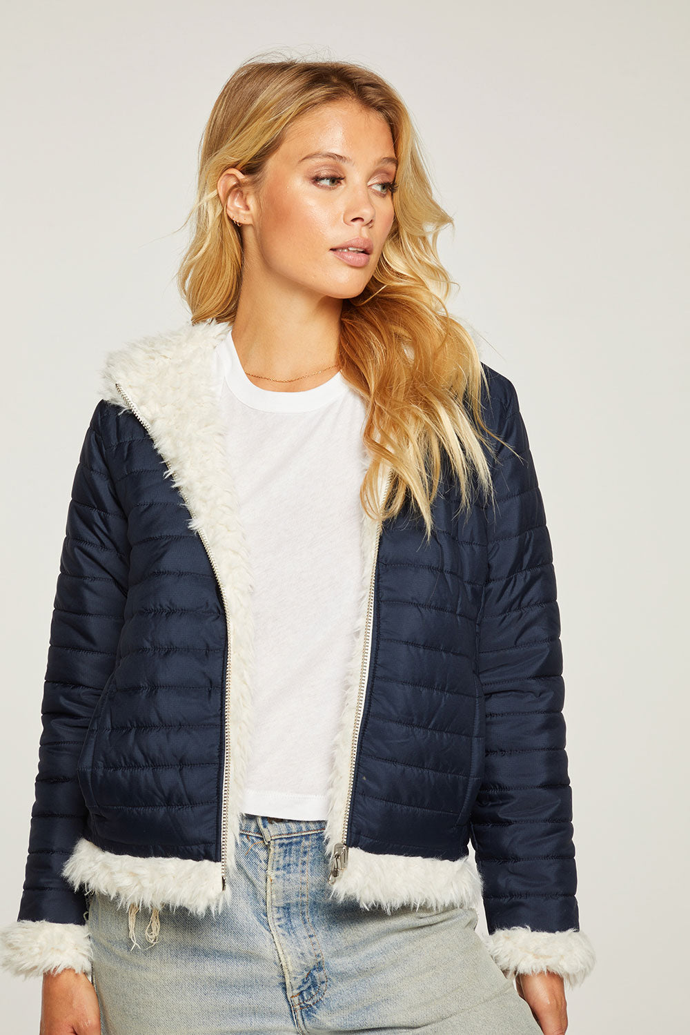 Reversible Quilted Faux Fur Zip Up Hooded Puffer Jacket WOMENS - chaserbrand