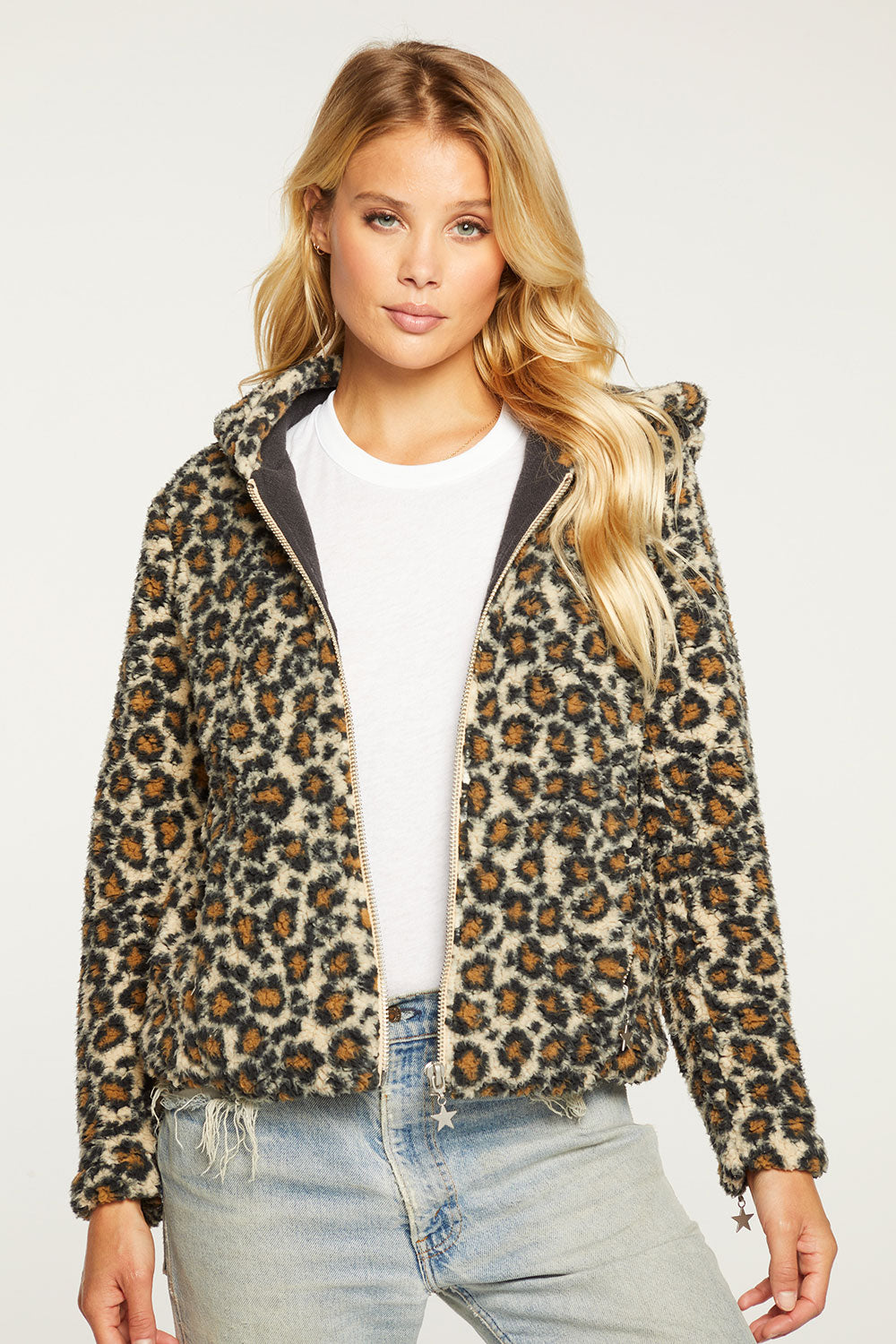 Animal Print Faux Fur Long Sleeve Zip Up Hoodie Jacket