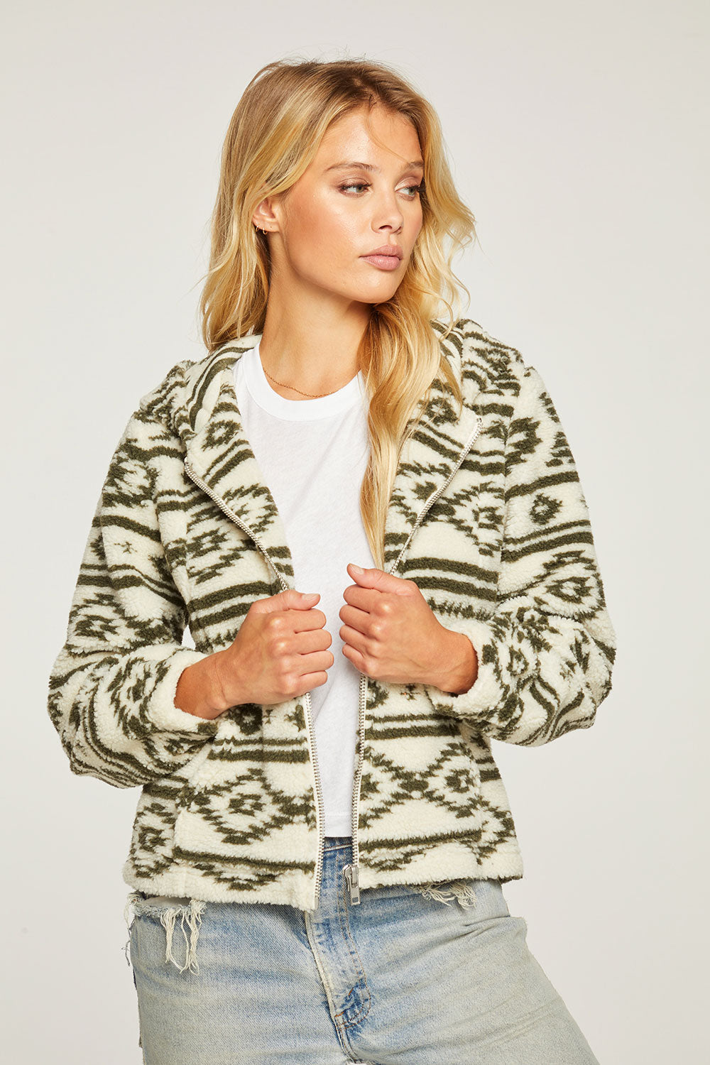 Wanderlust Polar Fleece Blouson Sleeve Zip Up Hoodie Jacket WOMENS - chaserbrand