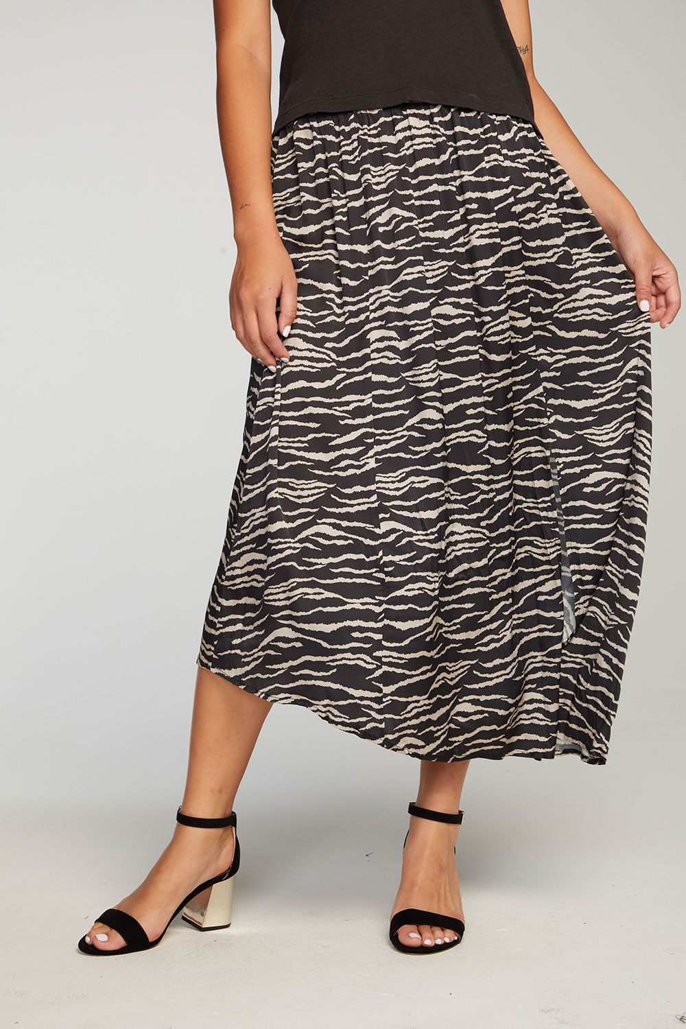 Stretch Silky Basics Asymmetrical Midi Skirt with Slit