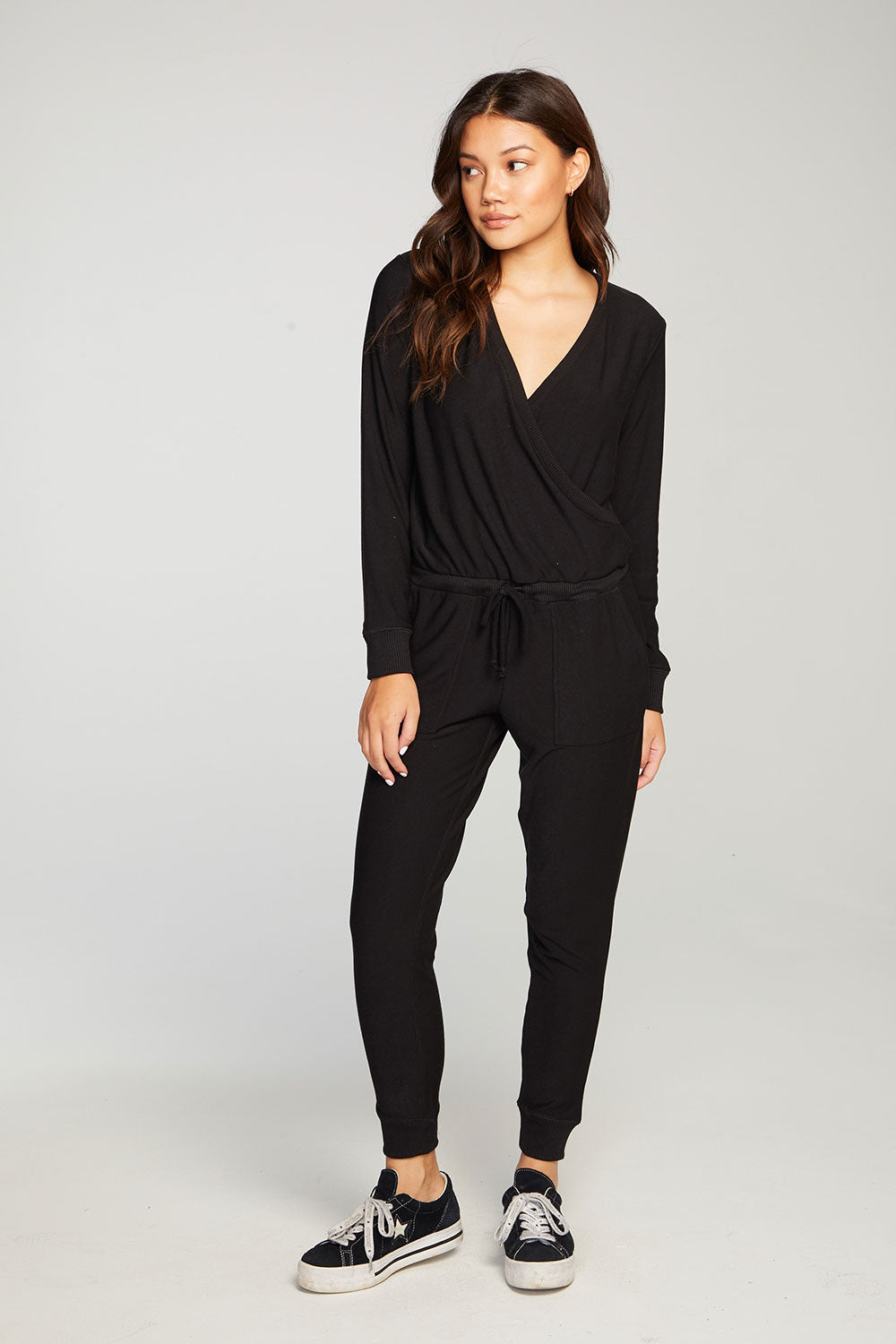 Cozy Knit Long Sleeve Surplice Jumpsuit WOMENS chaserbrand4.myshopify.com