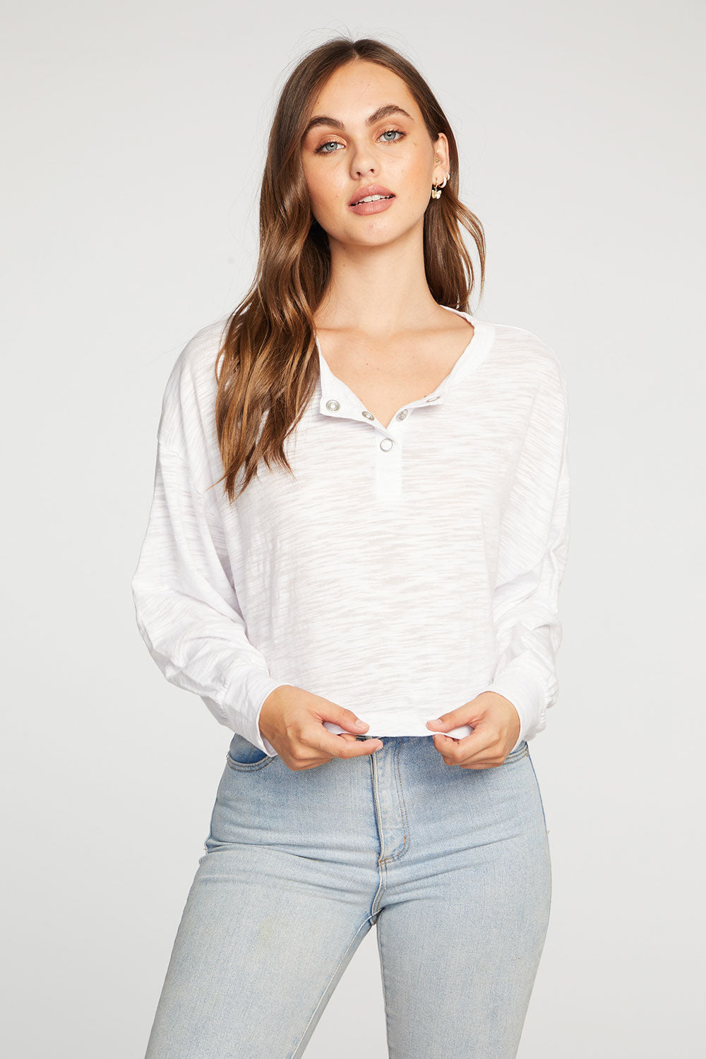 Slub Jersey Shirred Long Sleeve Drop Shoulder Henley WOMENS chaserbrand4.myshopify.com
