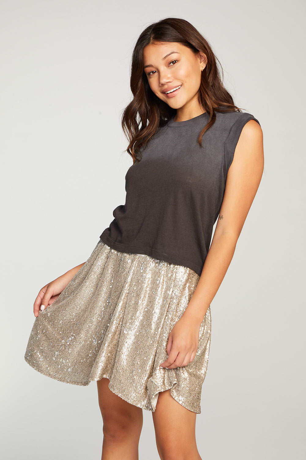 Sequin Contrast Terry Waistband Mini Skirt WOMENS chaserbrand4.myshopify.com