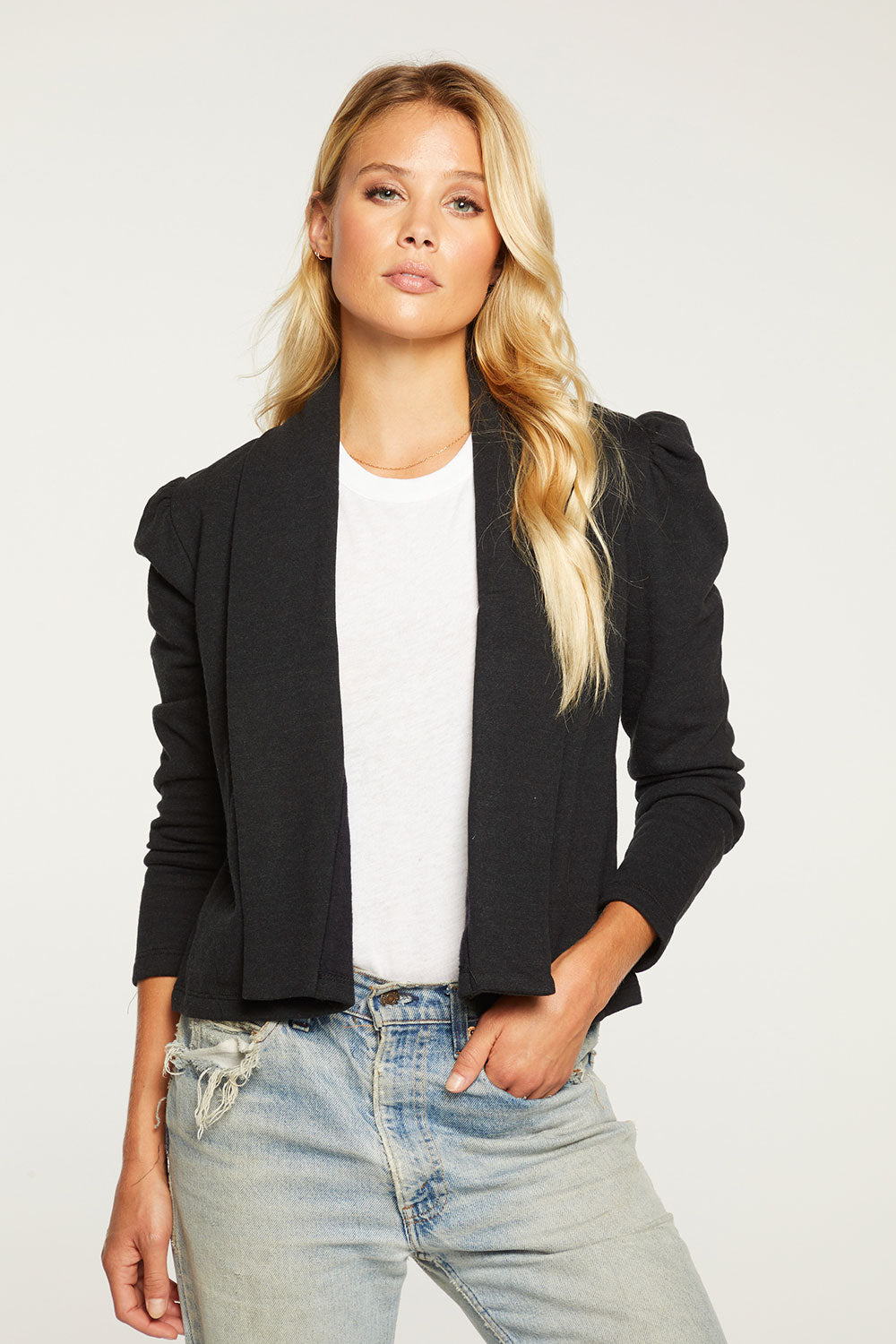 Cashmere Fleece Cropped Puff Sleeve Blazer WOMENS - chaserbrand