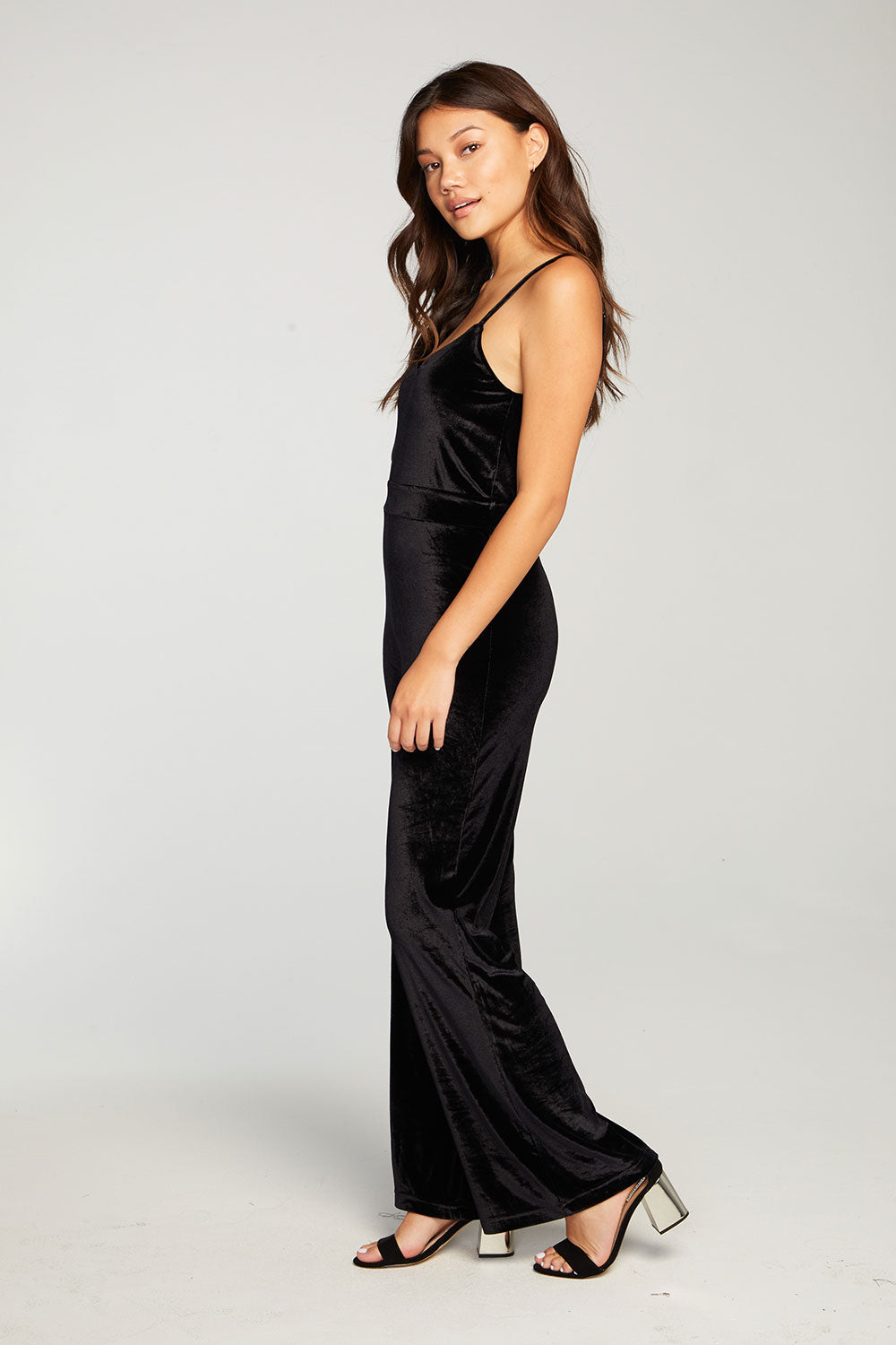 Stretch Velvet Double V Cami Wide Leg Jumpsuit WOMENS chaserbrand4.myshopify.com