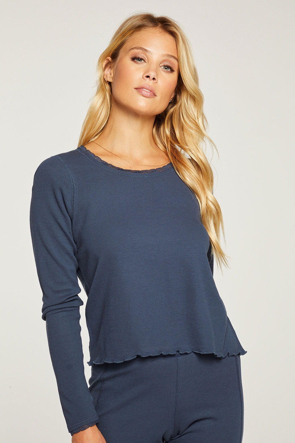 Heritage Waffle Lace Long John Layering Tee with Thumbhole WOMENS - chaserbrand