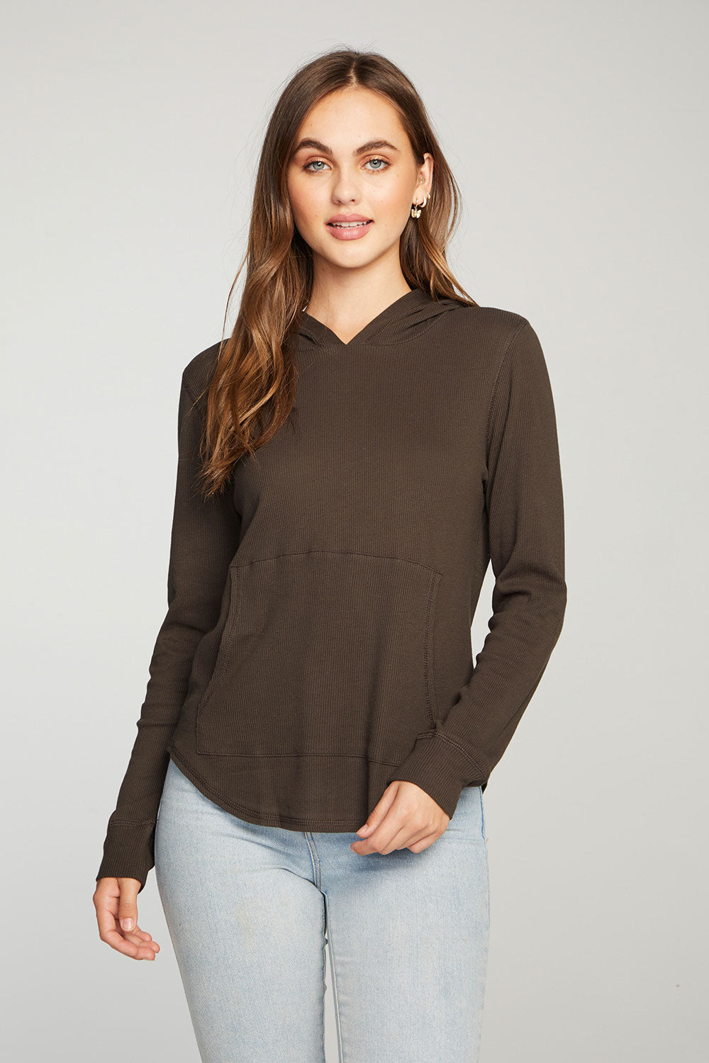 Heritage Waffle Long Sleeve Shirttail Kanga Pocket Pullover WOMENS - chaserbrand