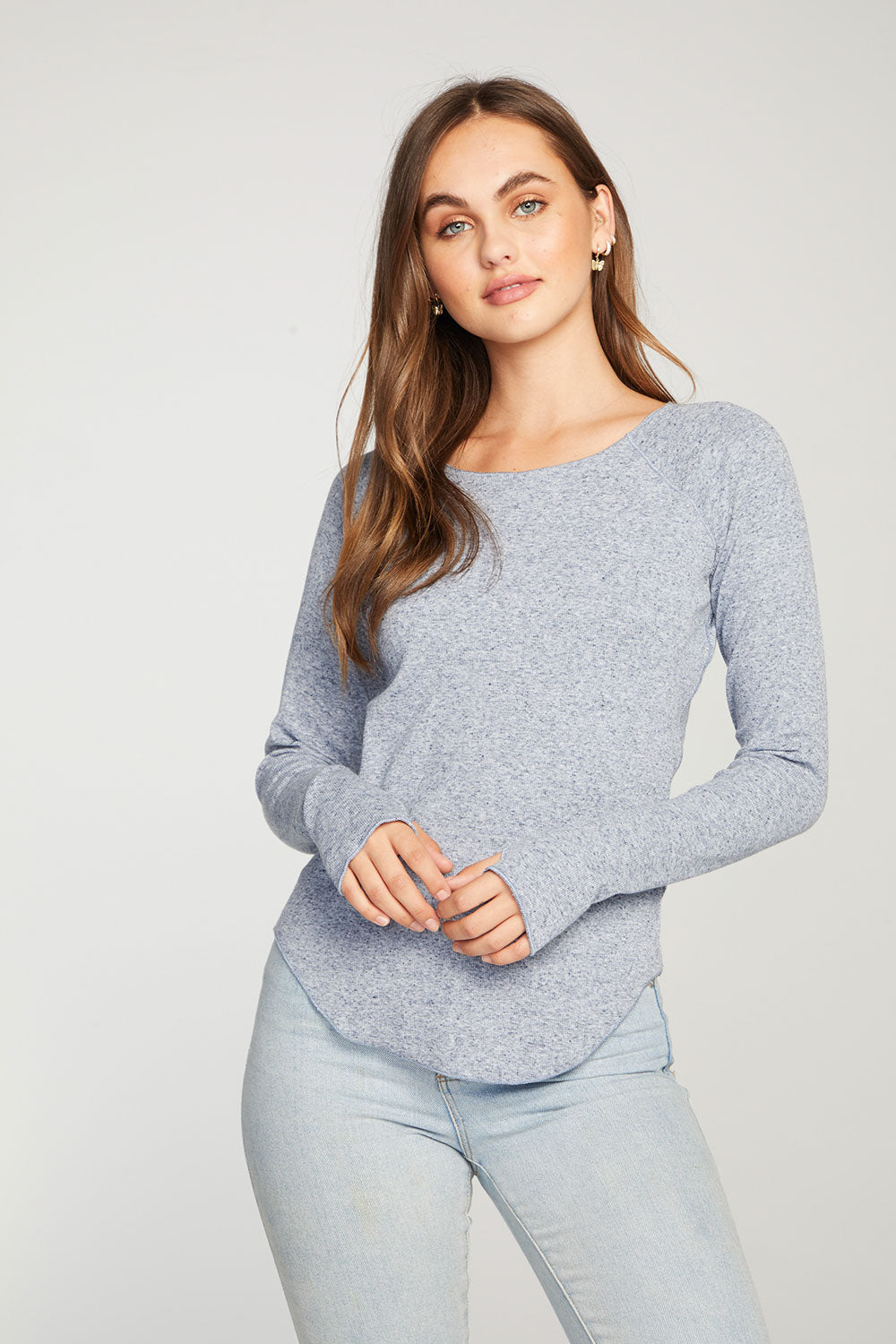Linen Rib Long Sleeve Shirttail Raglan Tee with Thumbhole WOMENS - chaserbrand