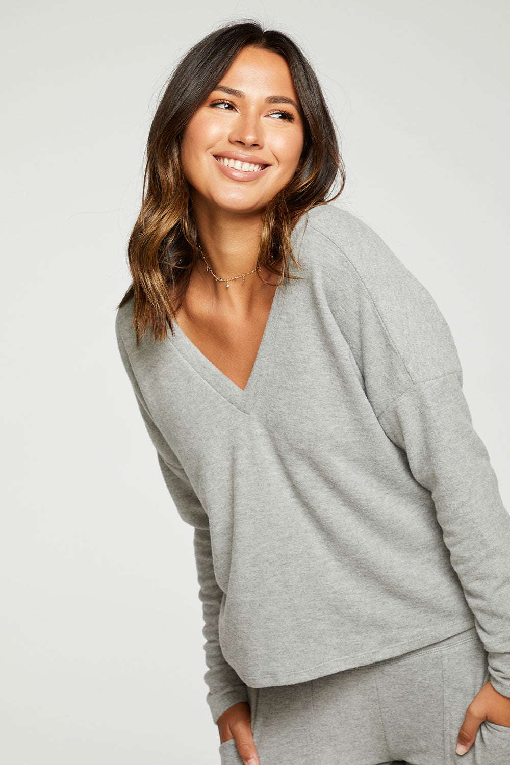 RPET Bliss Knit Long Sleeve Double V Pullover Recycled - chaserbrand
