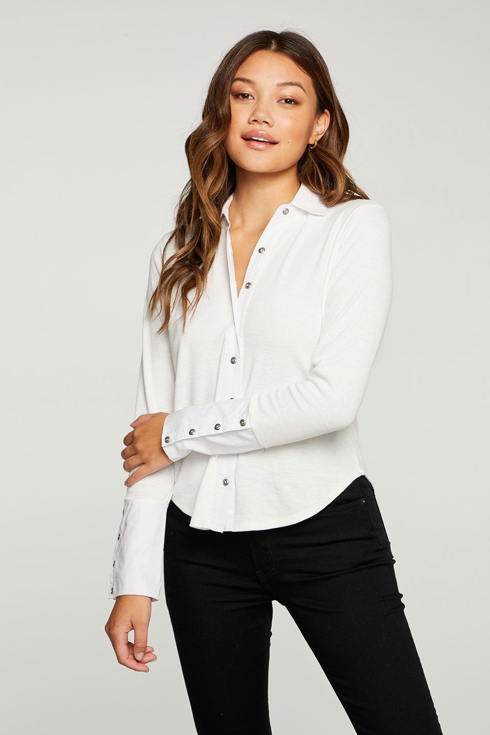 Linen Rib Mixed Poplin Button Down WOMENS - chaserbrand