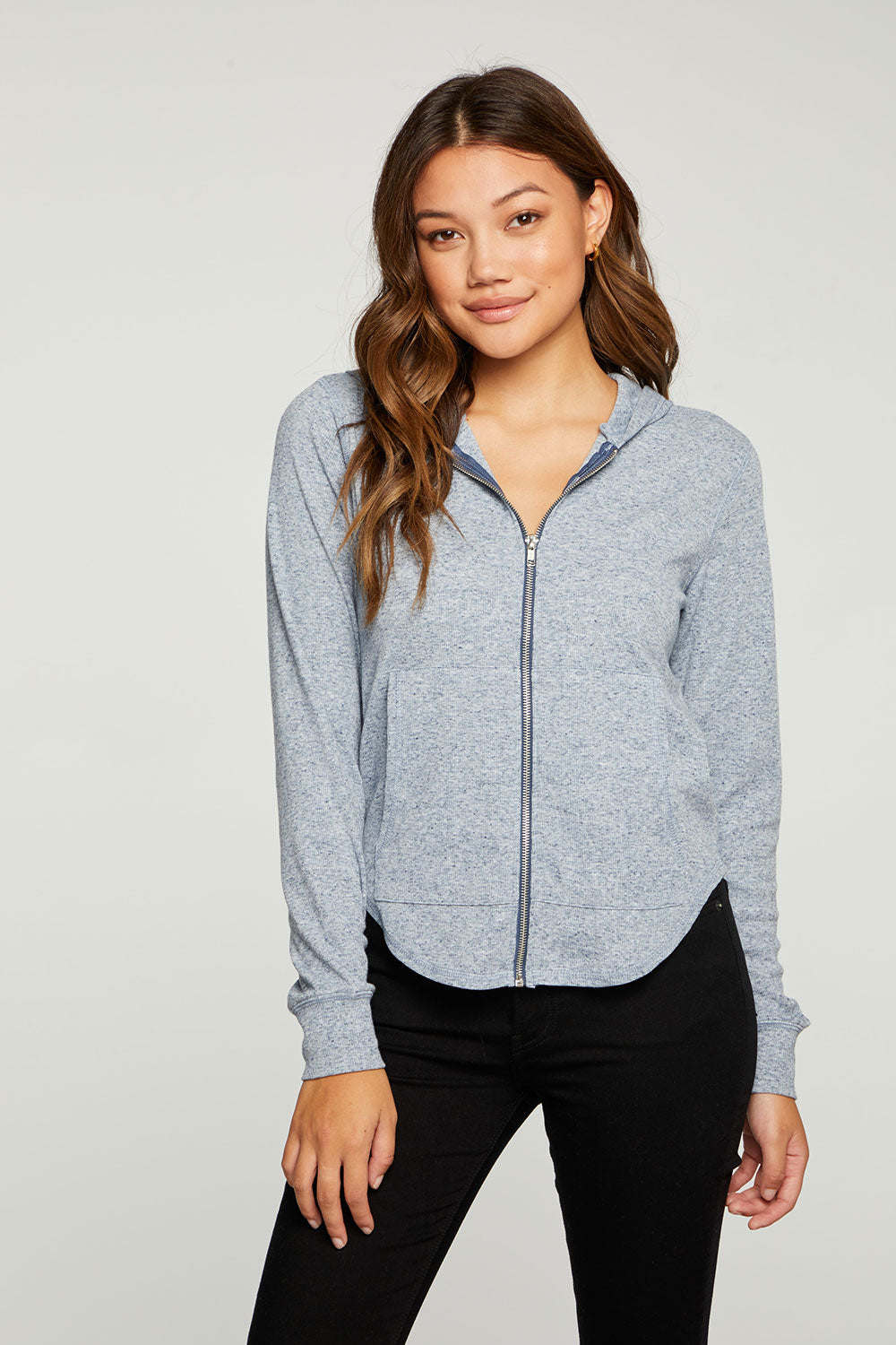 Linen Rib Long Sleeve Shirttail Zip Up Hoodie WOMENS - chaserbrand