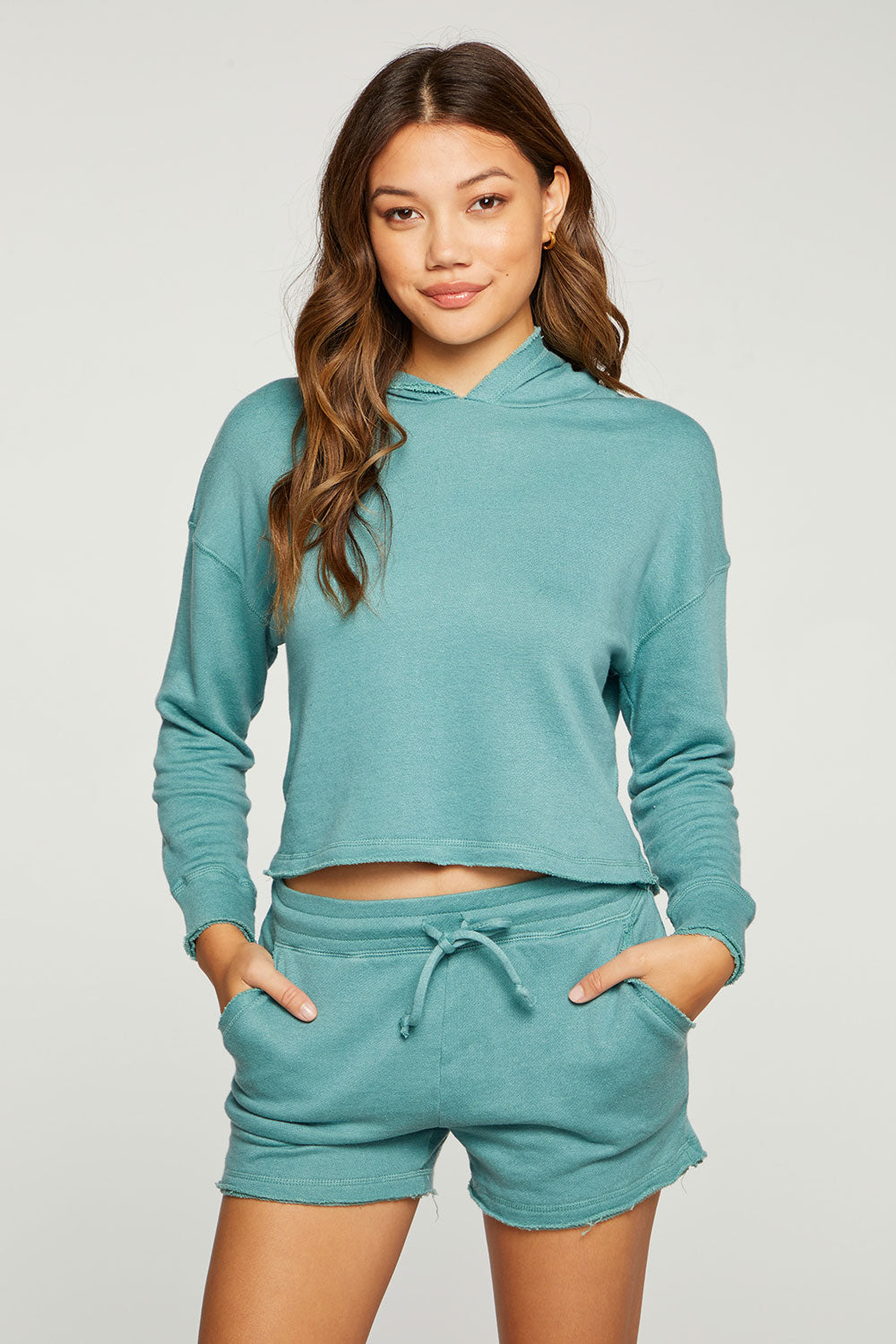 Linen French Terry Cropped Long Sleeve Pullover Hoodie with Raw Edges WOMENS - chaserbrand