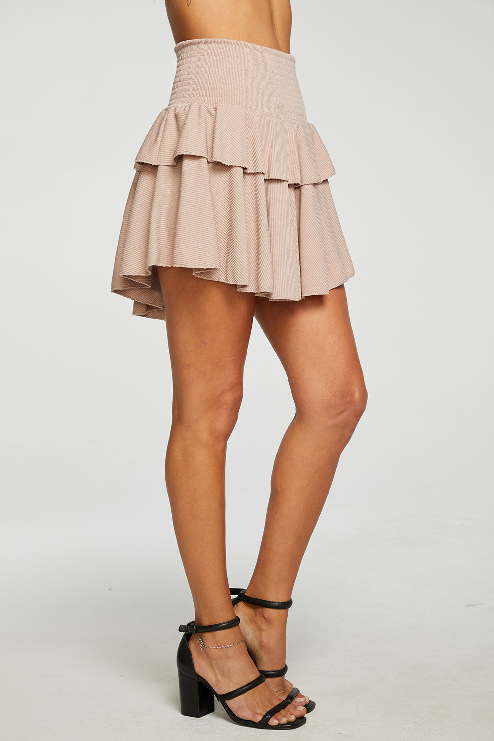 RPET Cozy Rib Flouncy Tiered Mini Skirt WOMENS - chaserbrand
