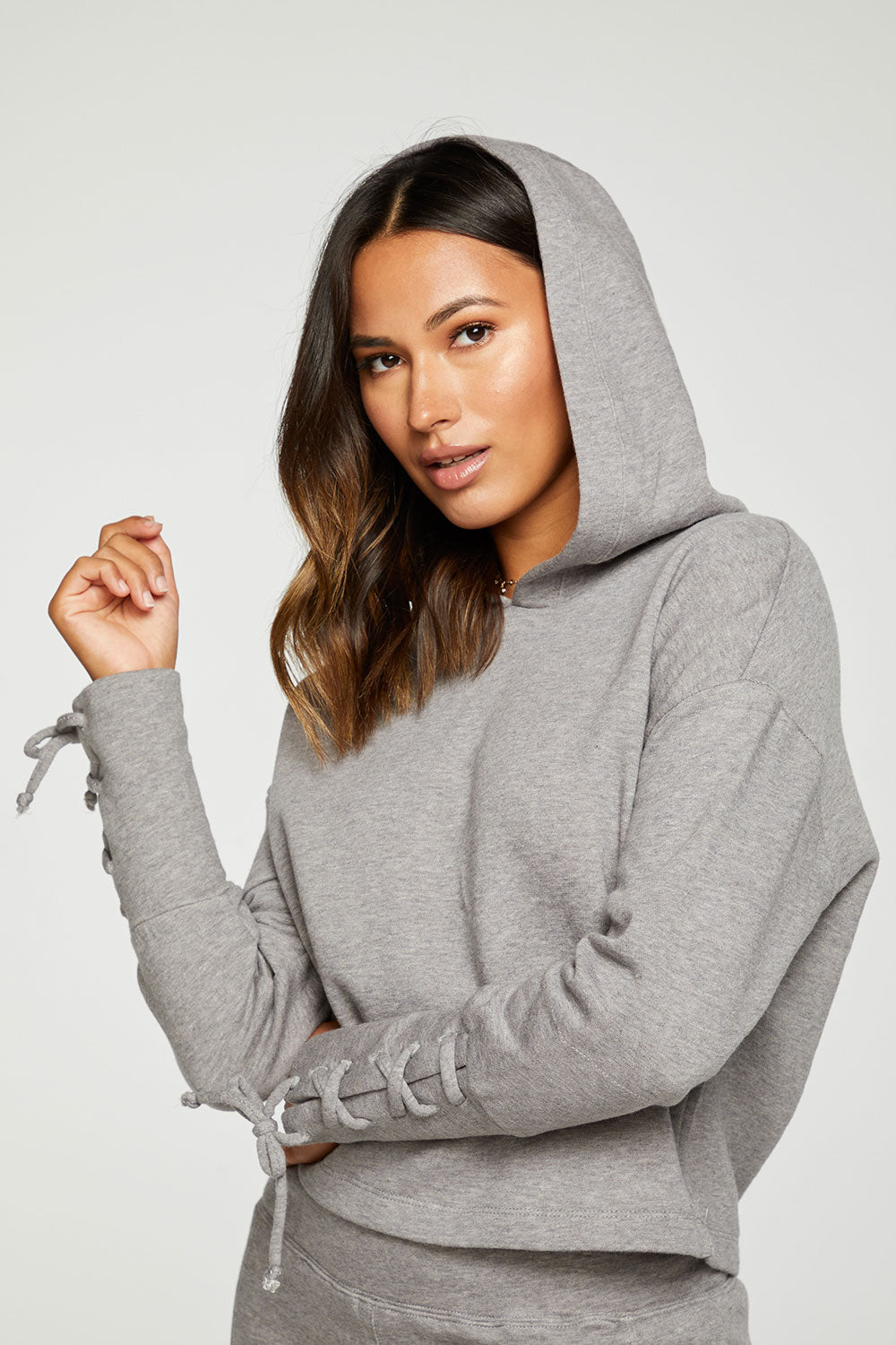 Cashmere Fleece Lace Up Sleeve Pullover Hoodie WOMENS - chaserbrand