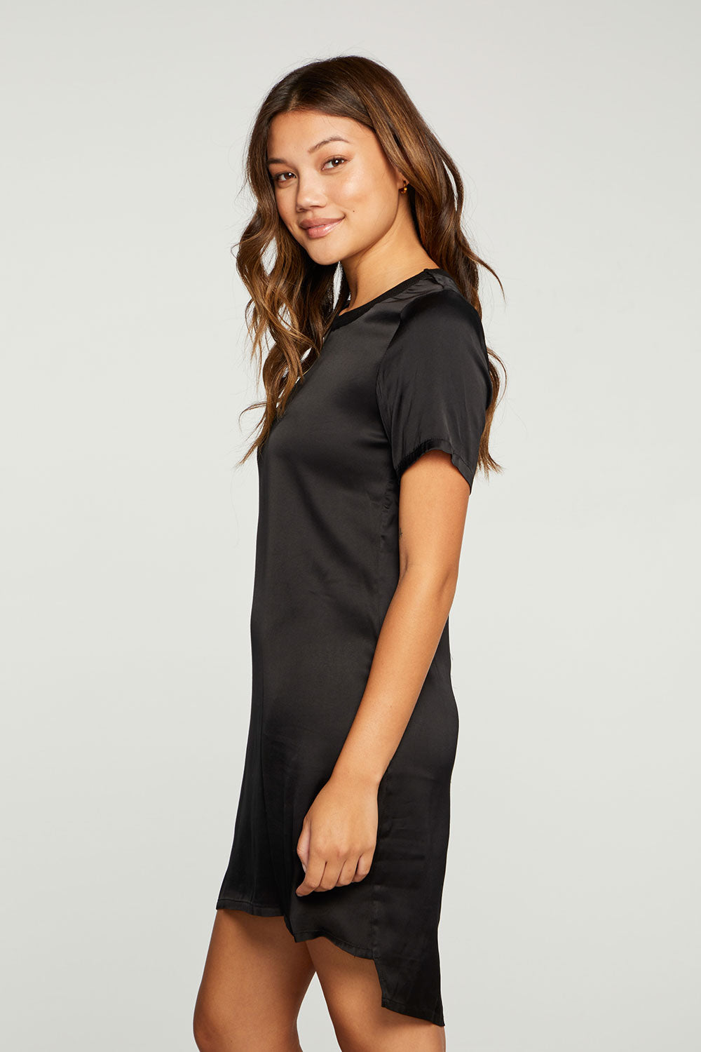 Stretch Silky Basics Short Sleeve Seamed Back Hi Lo Tee Dress WOMENS - chaserbrand